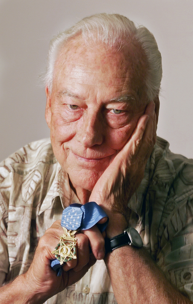 Walter Ehlers of Buena Park, Calif., shown in 2001, received of the Medal of Honor for bravery during the WWII D-Day invasion. His death leaves just seven other surviving recipients.