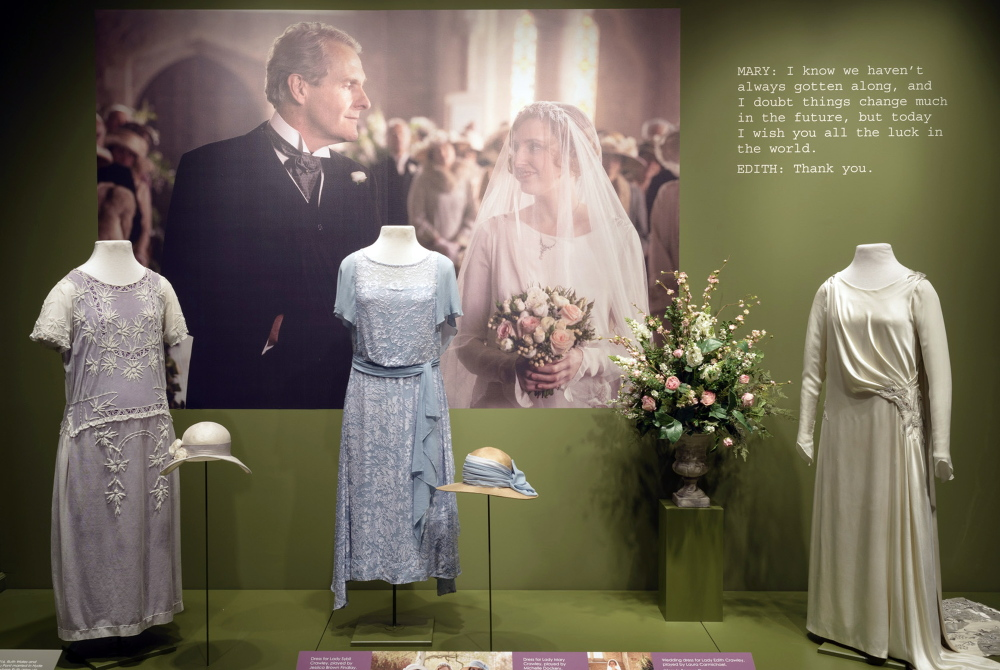 "Costumes from the British television drama ""Downton Abbey,"" are displayed at the Winterthur Museum Wilmington, Del."