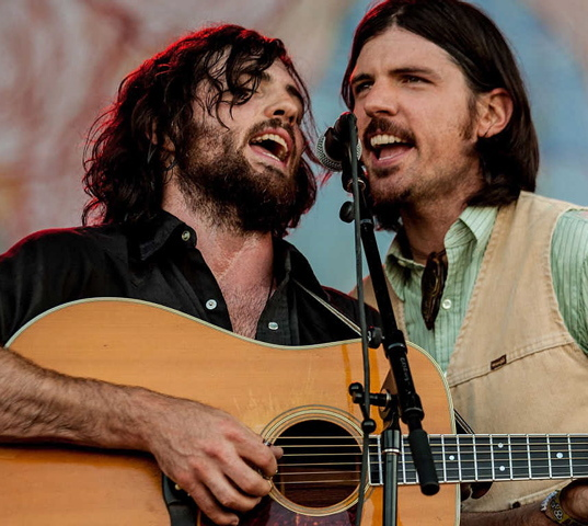 Scott Avett, left, and Seth Avett of The Avett Brothers perform during the 2012 Bonnaroo Music and Arts Festival on June 8, 2012, in Manchester, Tenn.