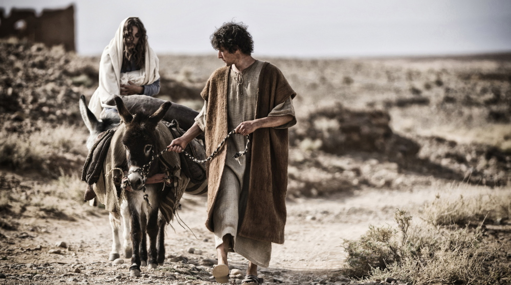 "Leila Mimmack and Joe Coen as a young Mary and Joseph in a scene from ""Son of God."""