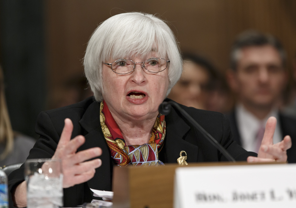 Federal Reserve Chair Janet Yellen testifies on Capitol Hill in Washington on Thursday before the Senate Banking Committee. Yellen noted that some recent economic data have pointed to weaker-than-expected gains in consumer spending and job growth.