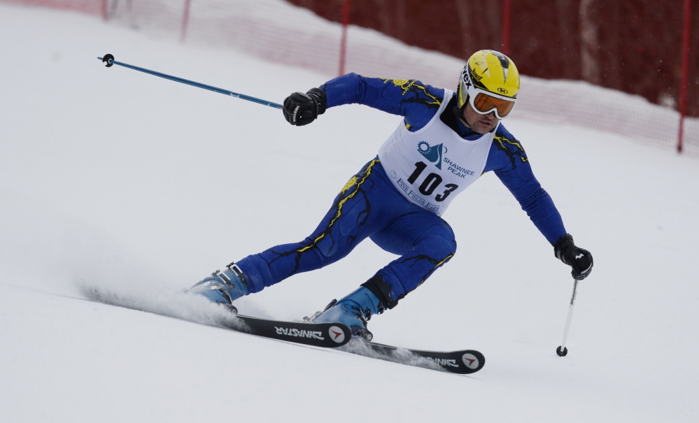 Falmouth's Joe Lesniak arrived a little late for his first run Thursday at Shawnee Peak, but he more than made up for it, winning the Class A giant slalom.