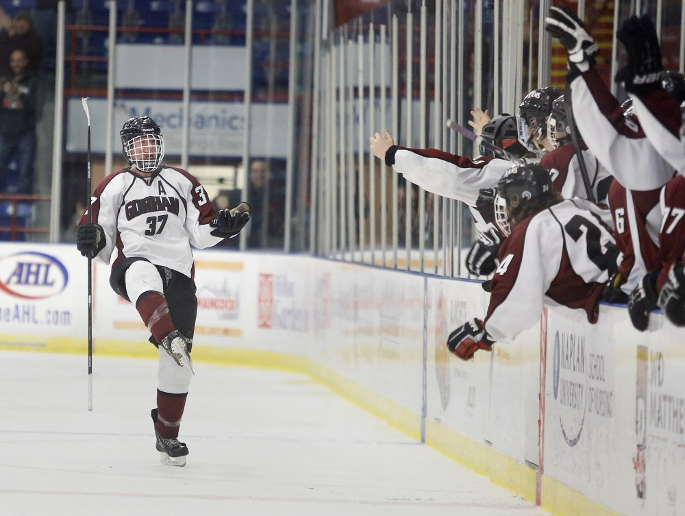 Shawn Sullivan celebrates his goal late in the third period that gave Gorham a 1-0 victory. The Rams will play defending state champion Greely in the regional final Wednesday.