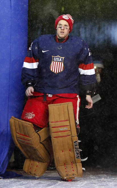 Jan 1, 2014; Ann Arbor, MI, USA; Detroit Red Wings goalie Jimmy Howard is introduced as a member of the U.S. Olympic hockey team after the 2014 Winter Classic hockey game against the Toronto Maple Leafs at Michigan Stadium. Mandatory Credit: Rick Osentoski-USA TODAY Sports - RTX16ZGX NPStrans TopPic
