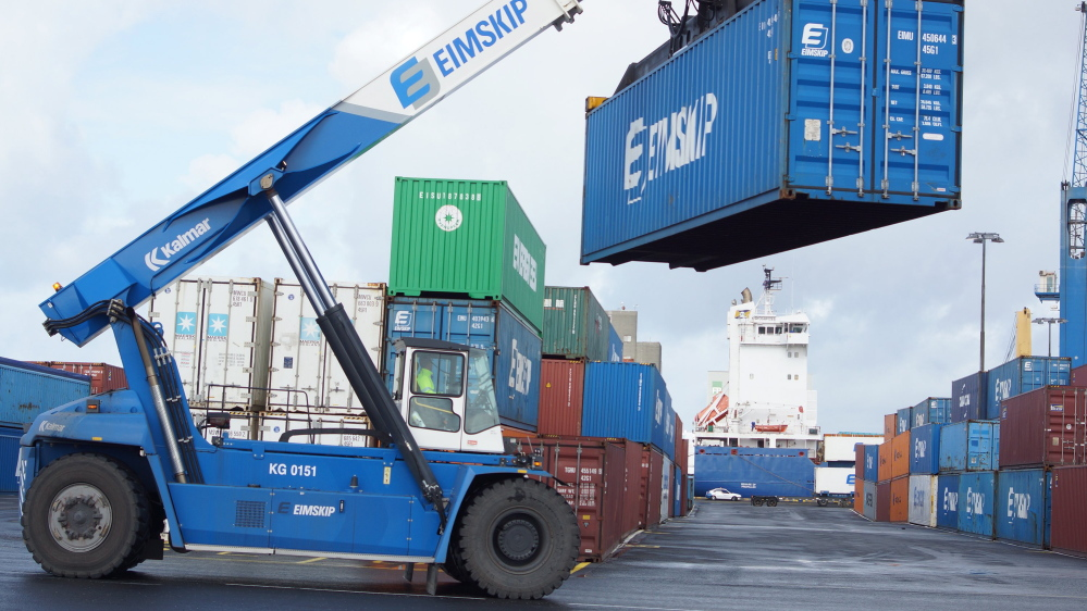 Portland's working waterfront now includes a reach stacker like this one at the Eimskip yard in Reykjavik, Iceland.