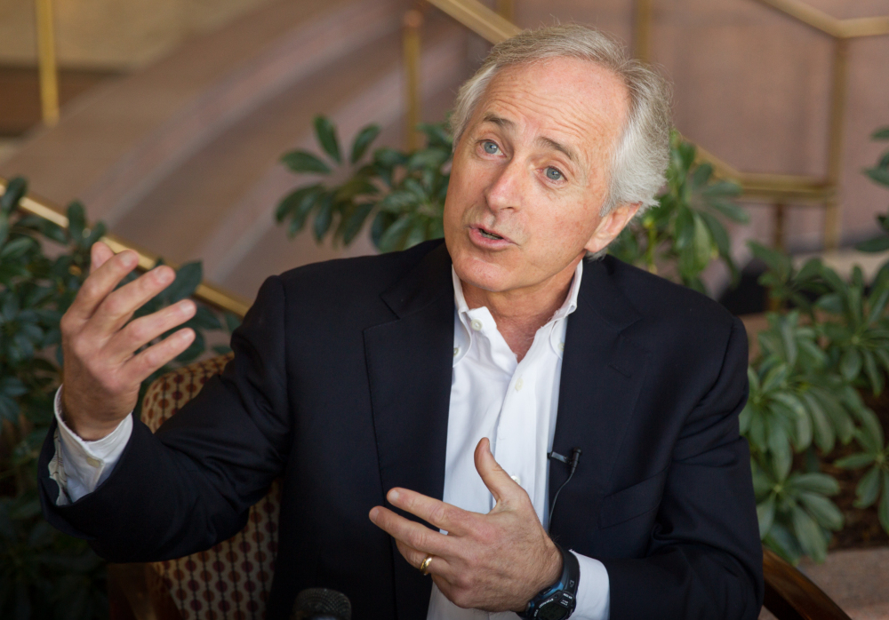 U.S. Sen. Bob Corker speaks to reporters in Chattanooga, Tenn., on Feb. 15 about the defeat of the United Auto Workers in a three-day election at the Volkswagen plant in the city.