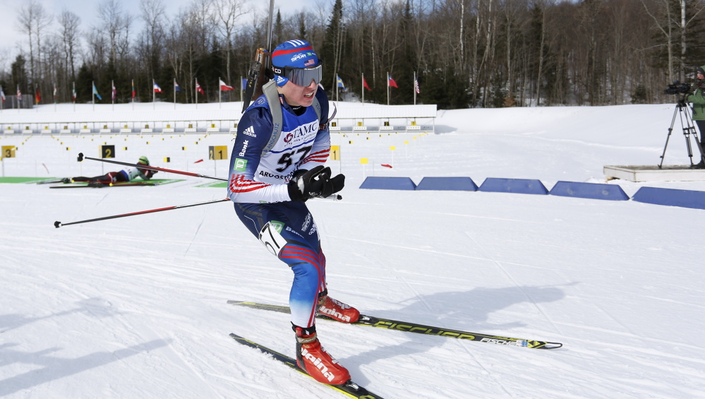 Kamran Husain, 16, a Fort Kent Community High School sophomore, leaves the shooting range and heads up course while competing Friday in the youth men's 7.5-kilometer sprint in the IBU Biathlon Youth/Junior World Championships in Presque Isle.