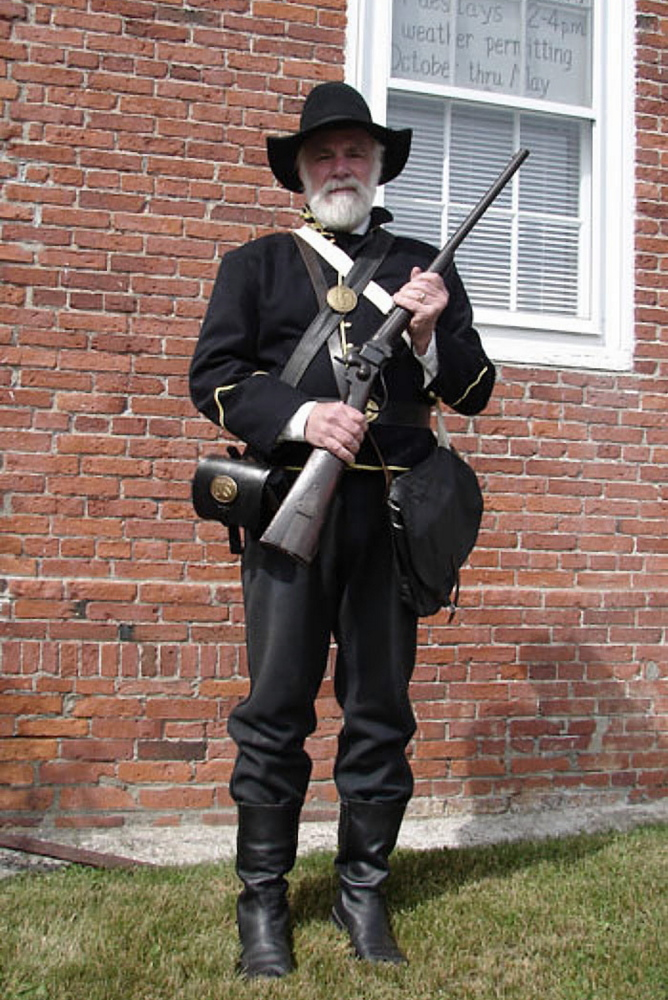 Blaikie Hines, wearing a uniform of the 2nd Maine Cavalry, will give an illustrated presentation about the Civil War on Wednesday at the Robbins House in Union.