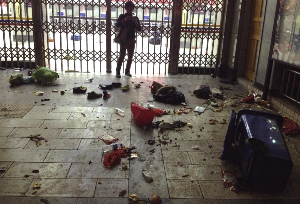 Scattered luggage is seen inside the Kunming Railway Station in Kunming, capital of southwest China's Yunnan Province. More than 10 assailants slashed scores of people with knives at the train station in southern China in what officials said Sunday was a terrorist assault by ethnic separatists from the far west. Twenty-nine slash victims and four attackers were killed and 143 people wounded.