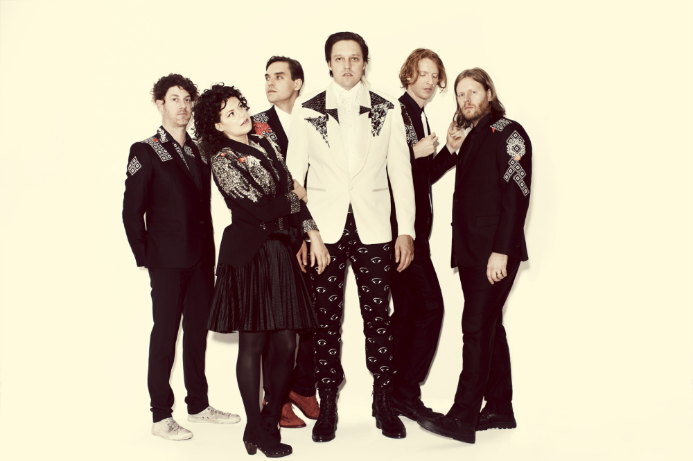 Arcade Fire, from left: Jeremy Gara, Regine Chassagne, Will and Win Butler, Richard Reed Parry and Tim Kingsbury. Courtesy of Arcade Fire