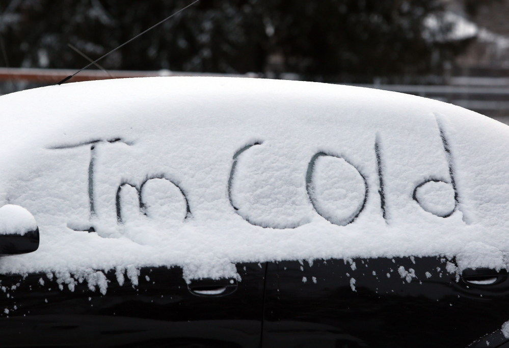 The words on a car in Salem, Ore., express the feelings of many winter-weary Americans as more harsh weather spreads across the nation.