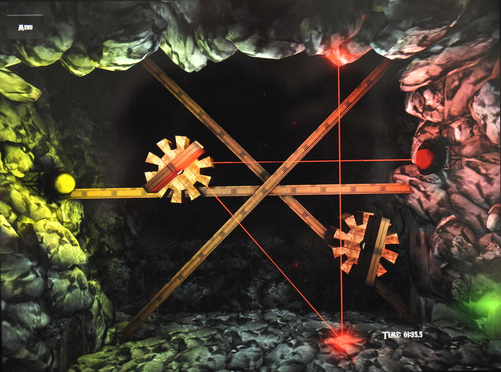 """G.E.A.R., which stands for """"Gears, Exits, and Rays,"""" asks players to rearrange an array of mirrors to bounce a laser around increasingly complex obstacles."""