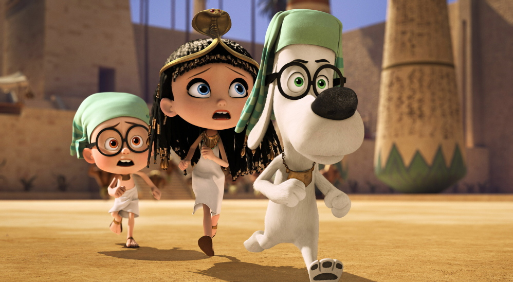 "Sherman, voiced by Max Charles, Penny, voiced by Ariel Winter, and Mr. Peabody, voiced by Ty Burell, in a scene from ""Mr. Peabody & Sherman."""