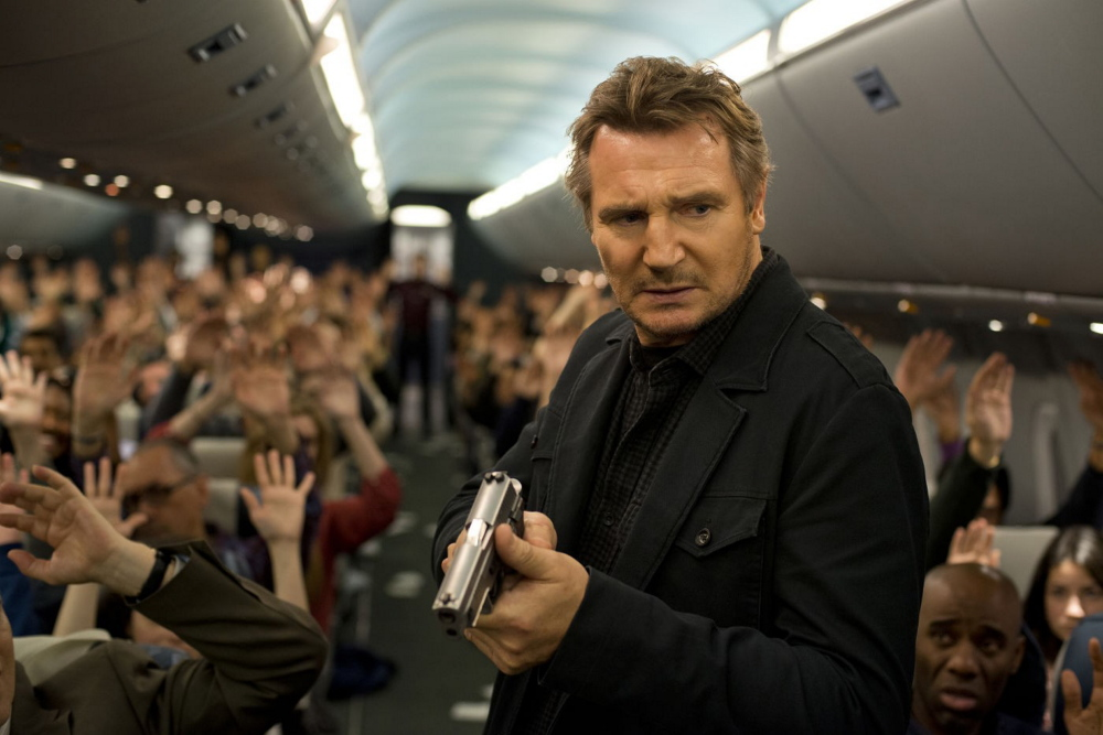 """Liam Neeson stars as an air marshal trying to stop a killer aboard a jetliner in """"Non-Stop."""""""