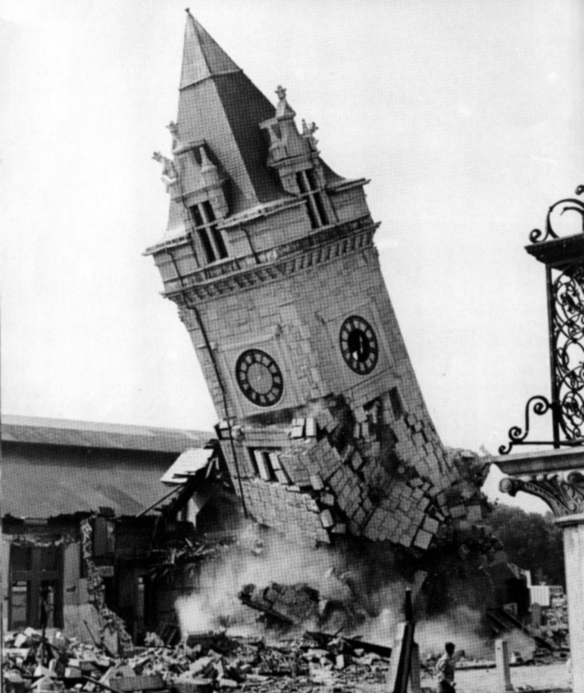 The clock tower at Portland's Union Station is torn down on Aug. 31, 1961. The building was the hub of railroad service in Maine for decades.