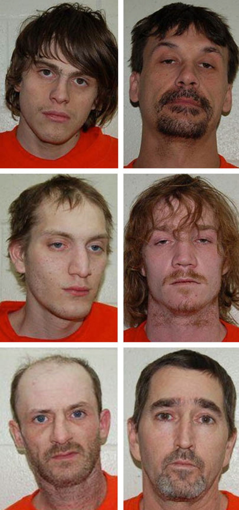 From top, left to right, are Ryan Brewer, Doil Hayes, Karter Burtt, Brandon Mills, Keith Cochran and Eric Rosten.