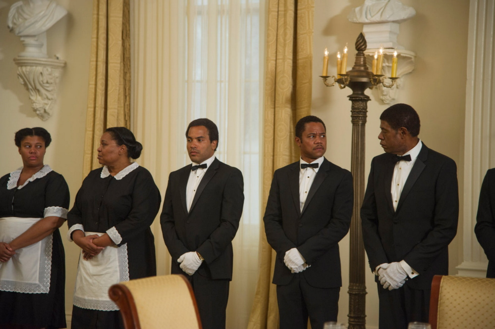 "Cuba Gooding, second from right, and Forest Whitaker, right in the civil rights tale, ""Lee Daniels' The Butler."""
