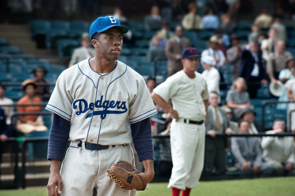 "Chadwick Boseman as Jackie Robinson in ""42,"" about the breaking of the color barrier in Major League Baseball."