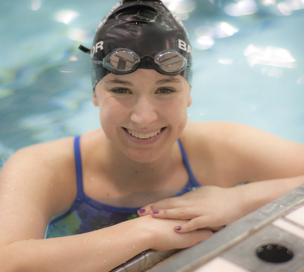Emma Waddell of Bangor began swimming in Texas before her family moved to Maine, and never forgets that there are faster swimmers outside of the state.