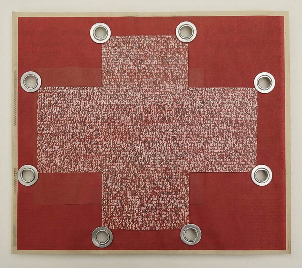 "Karen MacDonald's ""Days (Red Cross),"" collaged newspaper, color pencil on paper, and grommets."
