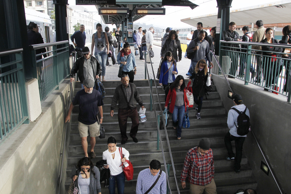 Passengers crowd Union Station in Los Angeles, which had a 6 percent increase in ridership past year. Other cities with increases included Houston, Phoenix, Seattle and Denver.