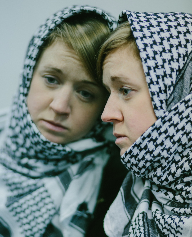 """Casey Turner in the title role in the Dramatic Repertory Company production of """"My Name is Rachel Corrie."""""""