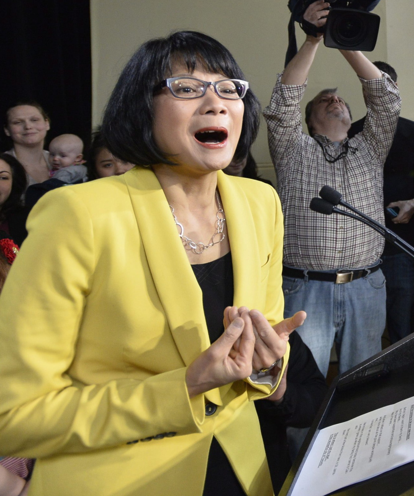 Olivia Chow speaks Thursday after she officially entered the race as a candidate for mayor of Toronto, opposing Mayor Rob Ford.