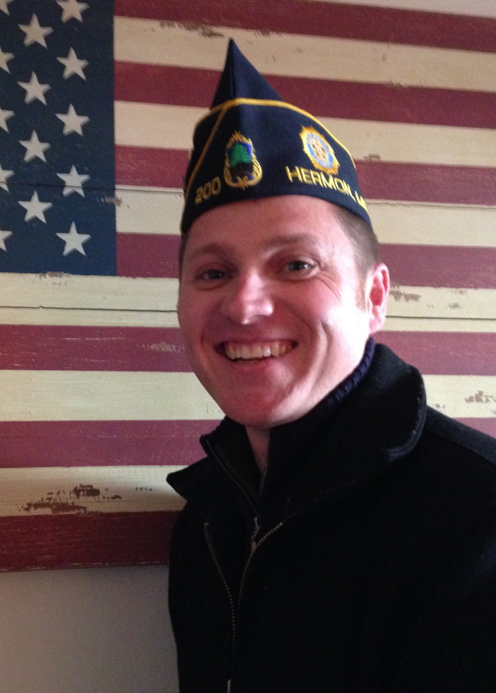 "Sam Canders, an Afghanistan war veteran and new member of the American Legion in Hermon, says younger members are trying to give the organization a ""new spin."""