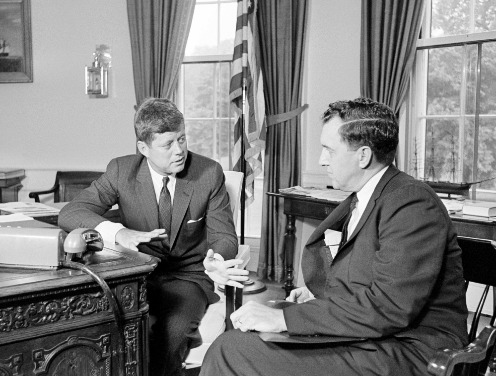 President John F. Kennedy talks with Sen. Edmund Muskie in the Oval Office in July 1961.