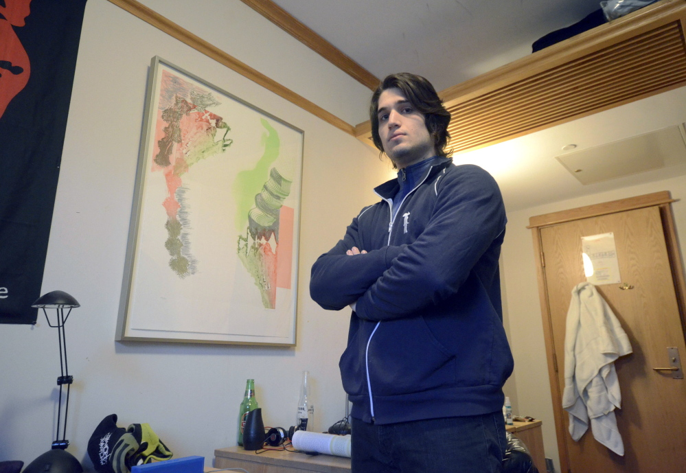 """The print, """"Rake,"""" by Pia Fries, hangs in freshman Sam Steakley's dormitory room at Williams College in Williamstown, Mass. A college official says living with art """"can catalyze new ways of thinking about a specific piece or art in general."""""""