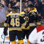 Boston Bruins' Jarome Iginla, second from left, celebrates with David Krejci, 46, and Milan Lucic after scoring on Cam Ward in the second period Saturday at Boston.