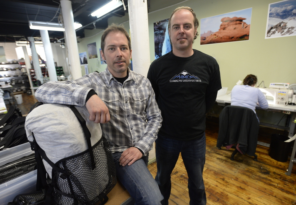Mike St. Pierre, left, and his brother, Dan, are CEO and CFO, respectively, of Hyperlite Mountain Gear, manufacturing in Biddeford's old mills.