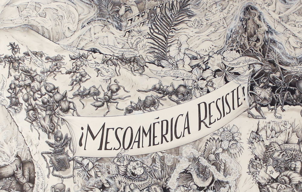 MACHIAS, ME - JANUARY 30: A detail from the 5 foot by 9 foot highly detailed poster created by the Beehive Collective titled Mesoamérica Resiste that deals with issues of globalization, free trade and militarization in the Americas, focusing on resistance to infrastructure projects in Central and South America. (Photo by Gregory Rec/Staff Photographer)