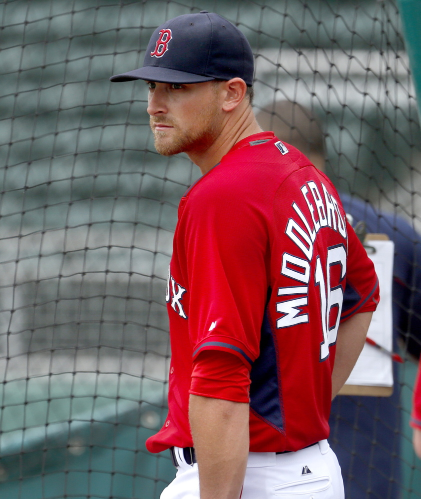 "Will Middlebrooks has cut down on swinging at ""borderline breaking balls"" and is having a fine spring with the Boston Red Sox. After Wednesday's game against the Pittsburgh Pirates, he is hitting .310."