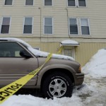 Police tape marks the scene at 77 Maine Ave. in Rumford where 25-year-old Jessica Byrn-Francisco was shot twice during an altercation with Rumford police.