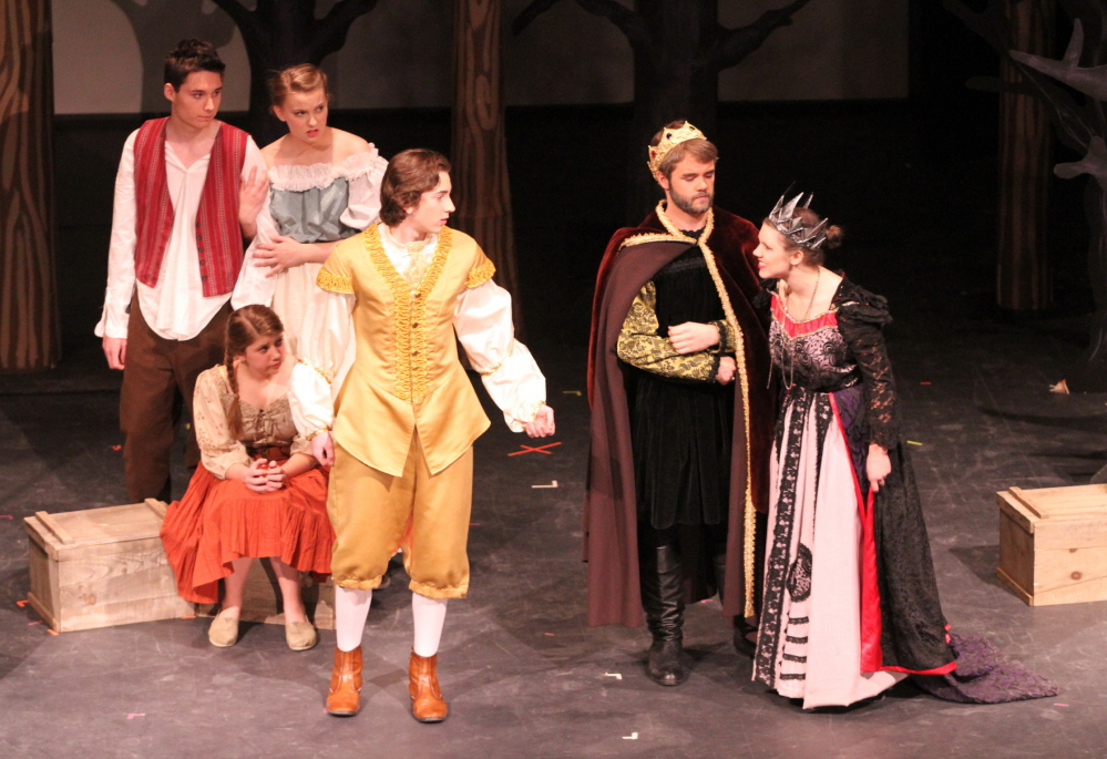 "Players in the Freeport High School One-Act Drama program perform the student-written play ""Unhappily Ever After."" The play competes this weekend at the Class B state championships held at Yarmouth High School."