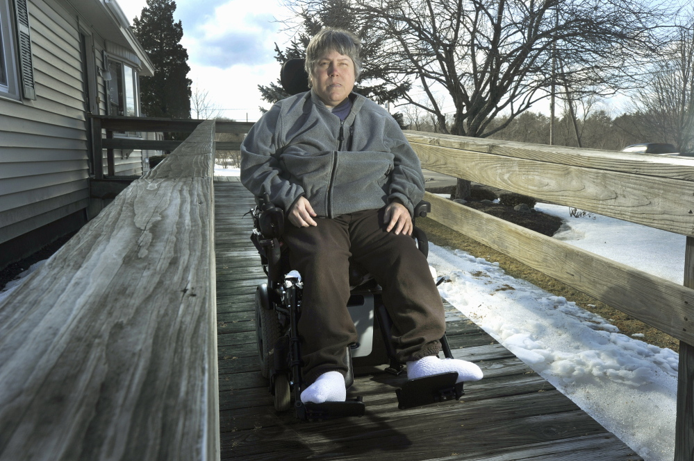 Maureen Wood, who uses a wheelchair, says her MaineCare rides have been extremely inconsistent since last year, and she's still missing many rides, which is a detriment to her health. March 20, 2014.