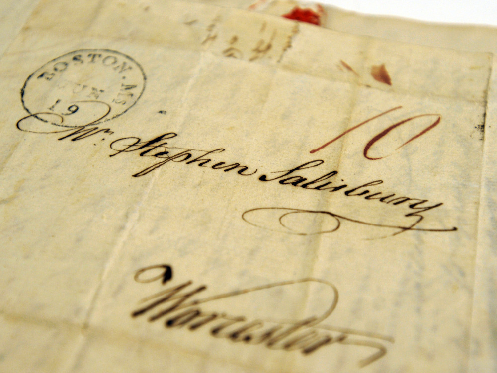 A letter addressed to Stephen Salisbury, in Worcester, Mass., still shows remnants of sealing wax at the top. Scholars say the abbreviated and ephemeral nature of today's electronic communication fails to convey the depth of feeling that occurs in traditional letter writing.