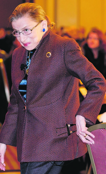 Supreme Court Justice Ruth Bader Ginsburg arrives to speak to the Northern Virginia Technology Council in December in Reston, Va.