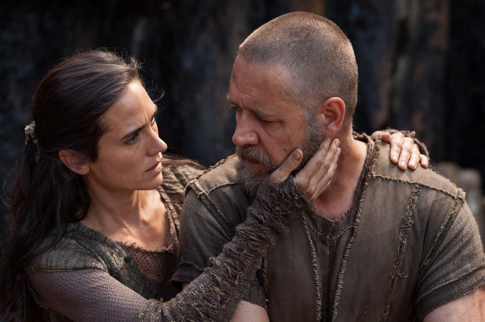 "Russell Crowe as Noah and Jennifer Connelly as his wife Naameh in ""Noah,"" opening Friday."