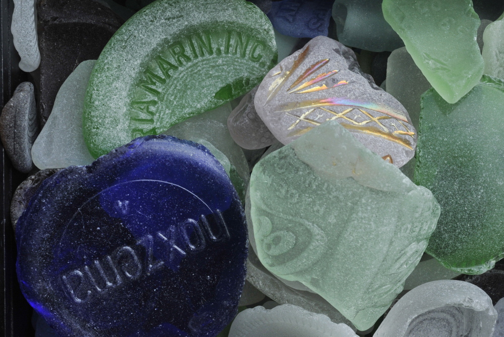 Some of the more common pieces of sea glass include pieces of soda and Noxema bottles.