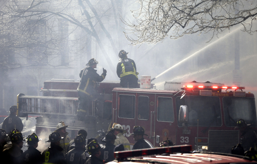 Traffic was snarled and Storrow Drive was closed down as firefighters worked to douse flames Wednesday.