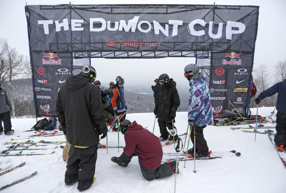 Skiers prepare to compete in the Dumont Cup. Twenty-one amateurs from a field of 85 advanced to competition Saturday, with 12 to join three Olympians in the finals Sunday.