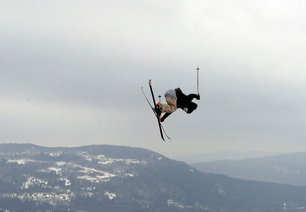 Keegan Kilbride of Portland goes high over a jump Friday while competing in the sixth annual Dumont Cup at Sunday River. Kilbride will compete in the freestyle junior world championships in Italy. He leaves Sunday.