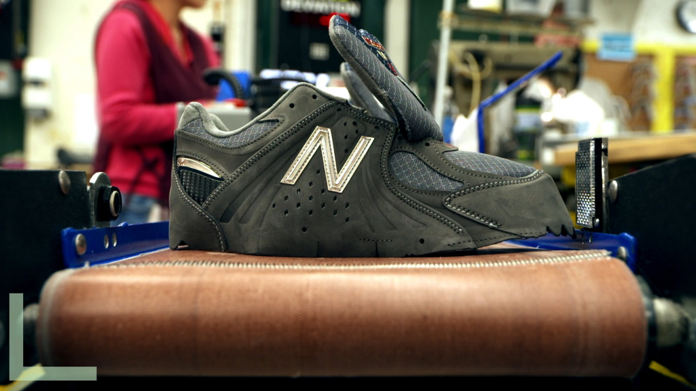 "A still from ""America Made"" shows New Balance shoes being made at the Skowhegan factory, which employs 345 people. A New Balance plant in Norridgewock employs about 393."