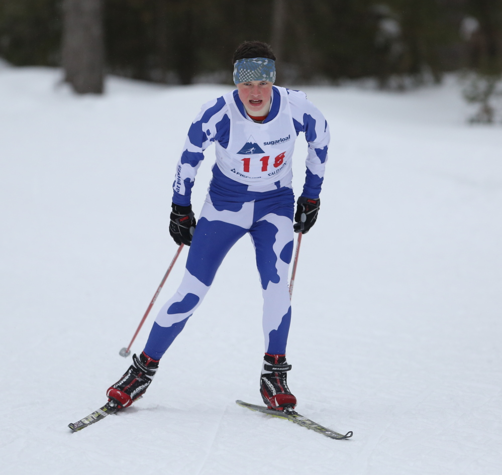 Braden Becker led a Yarmouth team that ran away with the Class B Nordic title, winning all but one of his high school races. He also was seventh in the 10K classic at junior nationals.