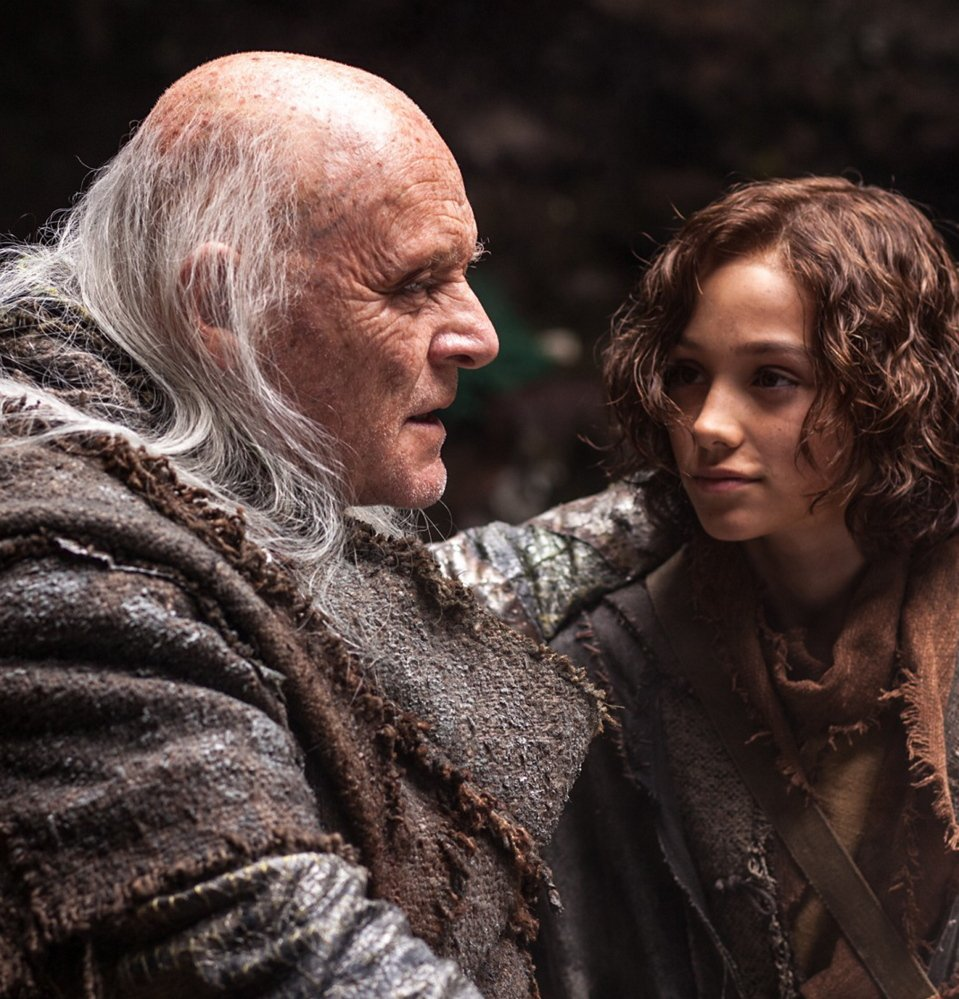 "Anthony Hopkins as Methuselah and Gavin Casalegno as Young Shem in ""Noah."""