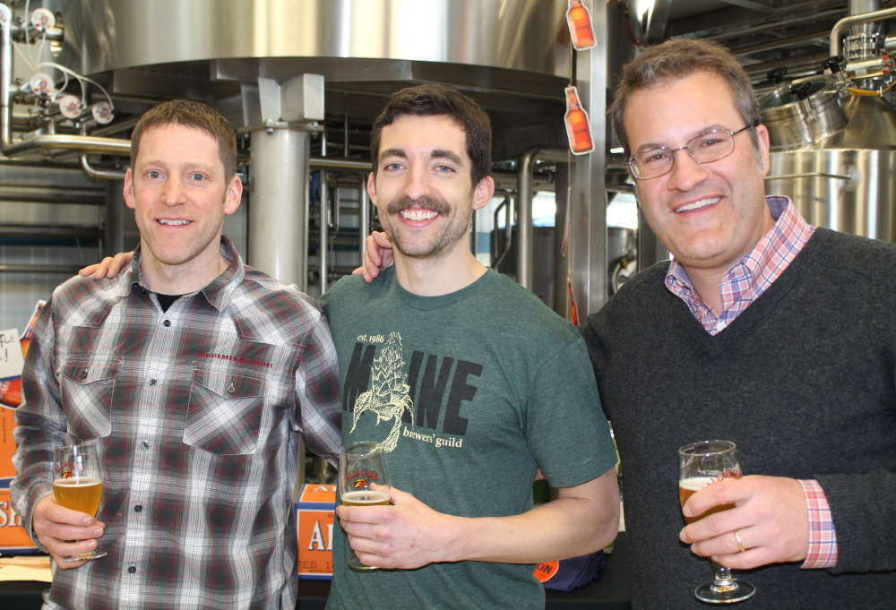 Allagash brewmaster Jason Perkins with brewer Patrick Chavanelle and Rob Tod, Allagash Brewing Co. founder and brewer.