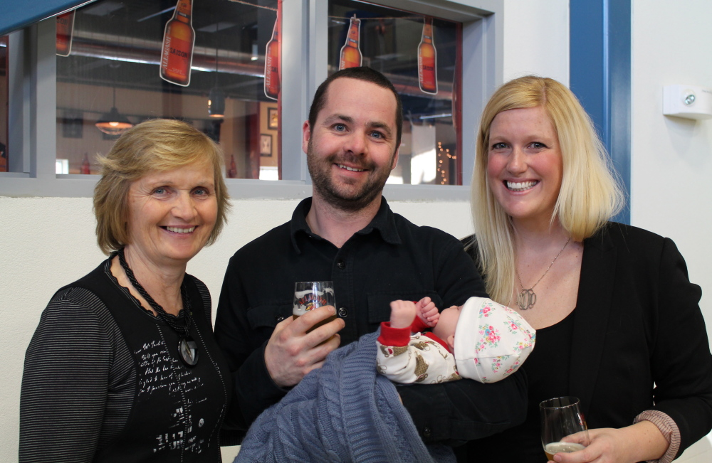 Marion Diffley, visiting from Ireland, joins her son Sean, plant engineer at Allagash Brewing Co. in Portland, his wife Megan, manager of employer services at CIEE, and their new daughter Edythe.