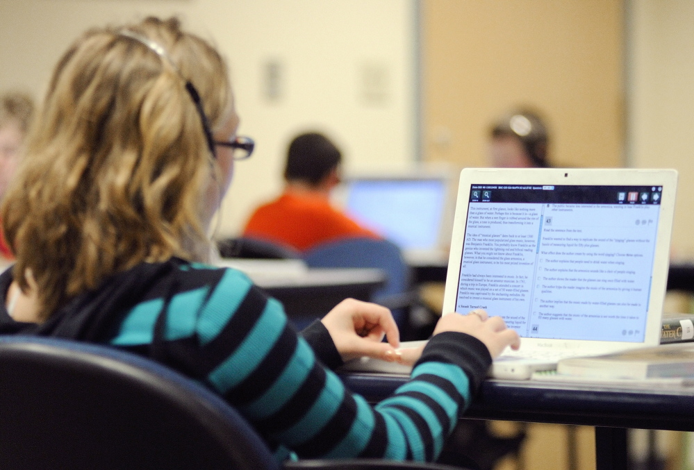 Fifth-graders take the English Language Arts section of the Smarter Balanced Field Test last week in the computer laboratory at Hall-Dale Elementary School in Hallowell.